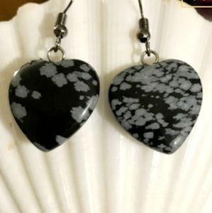 ❄Snowflake❄Obsidian❄Heart❄Earrings❄